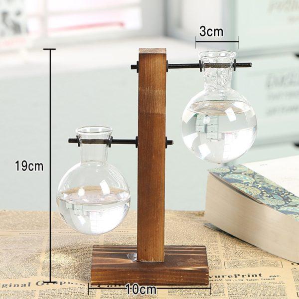 2er Vase Glas Holz