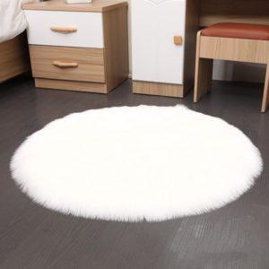 kunstfell teppich rund weiß grau