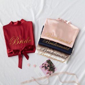 bridesmaid kimono brautjungfer morgenmantel robe satin
