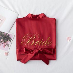 hochzeit braut satin kimono bride morgenmantel robe