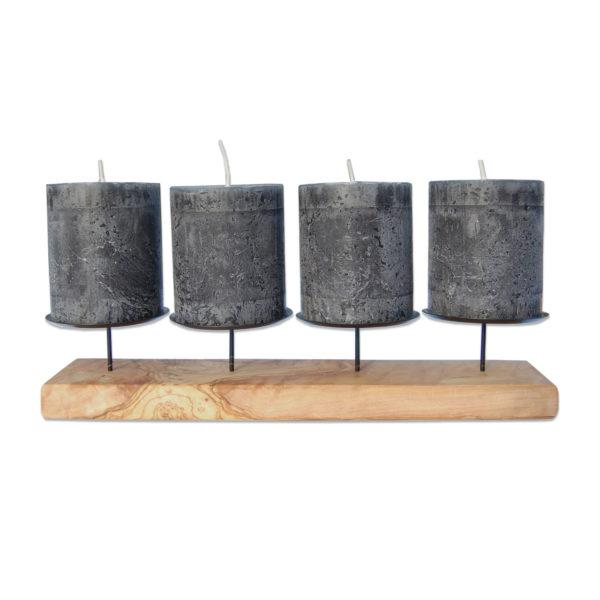 Darstellung 4er Kerzenhalter Advent aus Olivenholz